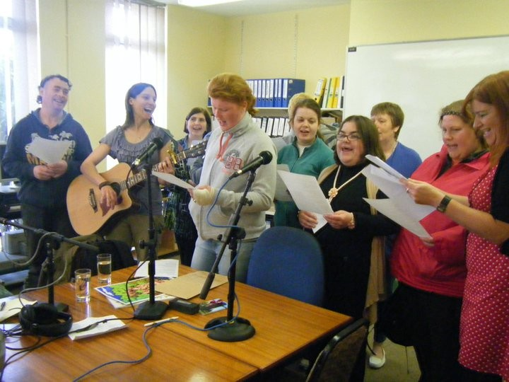 What a wonderful photo showing the enthusiasm of the Rehab Care Choir in full flow at the Coes Road venue.