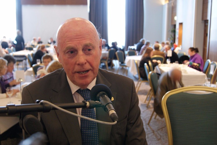 Tony O'Connor speaks about the work of the Dundalk Rotary Club at the annual Pancake Tuesday Breakfast Fundraiser in the Crowne Plaza Hotel, Dundalk.