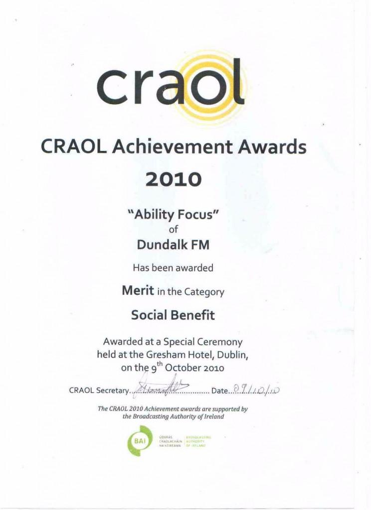 CRAOL Award Ability Focus 2010