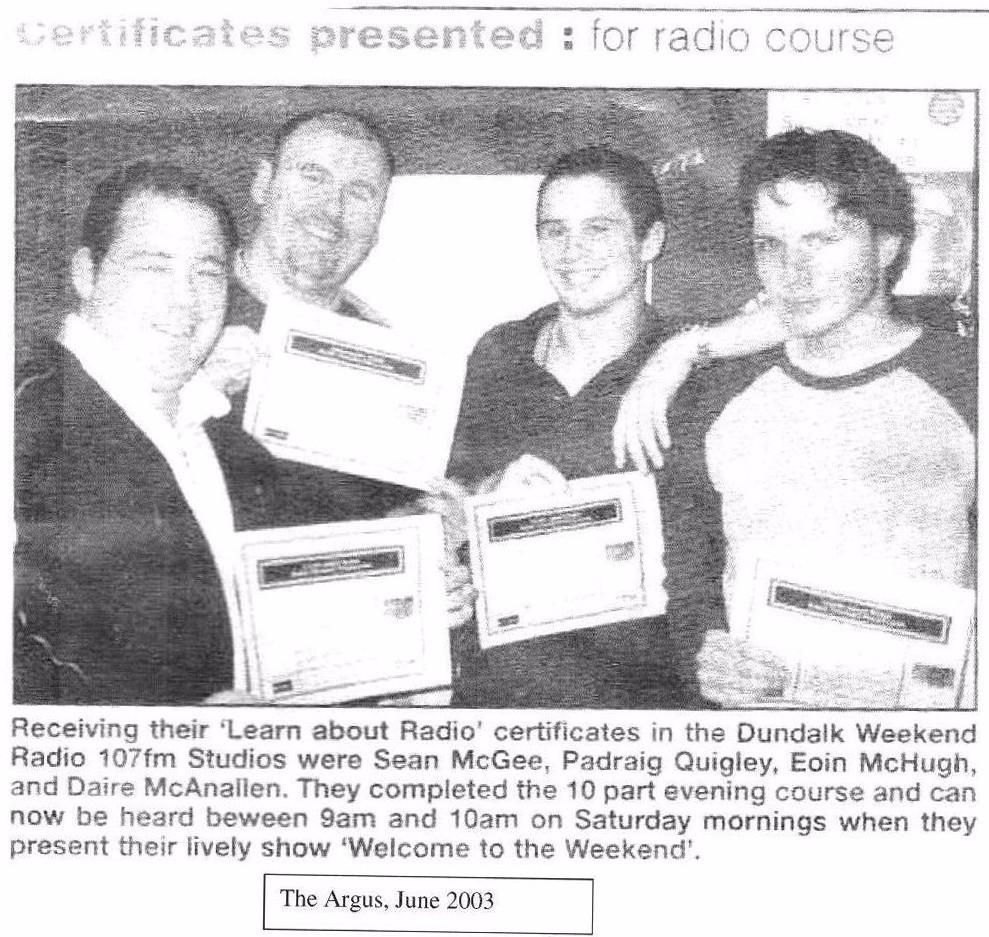 DWR Training Sean, Eoin, Dara, Padraig 2003