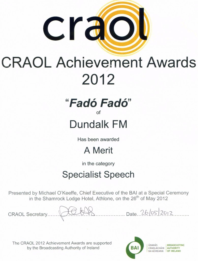 Fadó Fadó CRAOL Achievement Award 2012