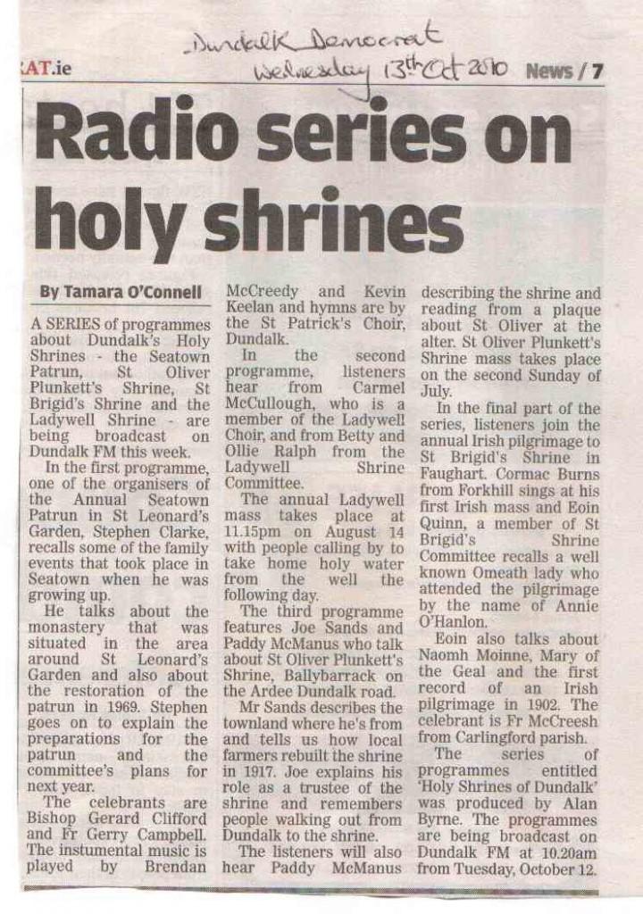 Holy Shrines Dlk Democrat Article