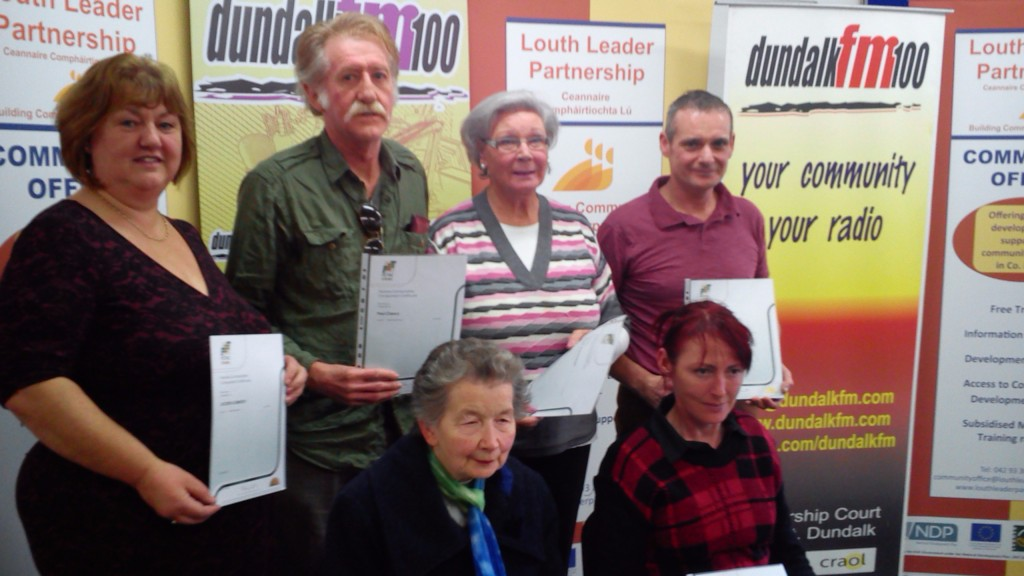 Receiving their FETAC/QQI Level 3 Media Expression Awards sponsored by the Louth Leader Partnership are Jacinta Matthews, Paul Sullivan, Breda O'Hanrahan, Pat Farrell, Sr Alice and Pauline McCusker.