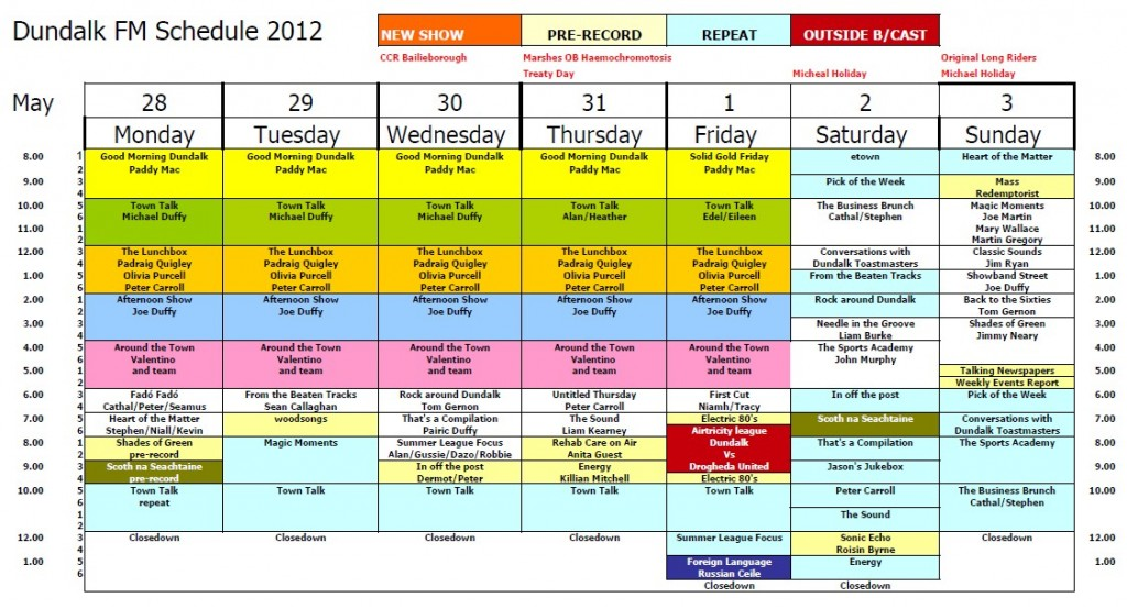 Schedule May 2012